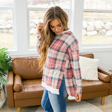 NEW! Erin Mauve and Navy Plaid Long Sleeve Top - Arrow Twenty Two