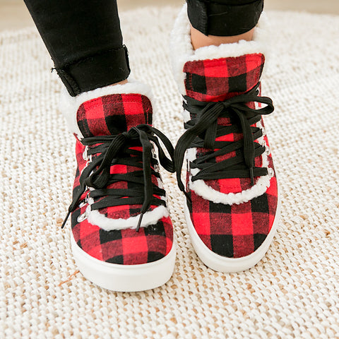 NEW! Snuggly Sherpa Lined Bootie - Red Buffalo Plaid - Arrow Twenty Two