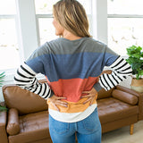 NEW! Maggie Rust, Navy, Mustard and Cream Striped Long Sleeve Top - Arrow Twenty Two