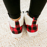 Very G Snuggly Sherpa Lined Bootie - Red Buffalo Plaid - Arrow Twenty Two