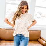 NEW! Mary Light Peach Floral Flutter Sleeve Top - Arrow Twenty Two