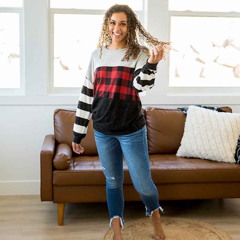 NEW! Hadley Red Buffalo Plaid, Charcoal and Gray Color Block Top - Arrow Twenty Two