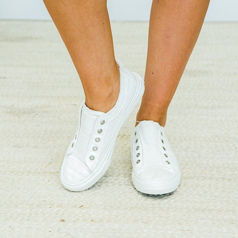 Playful White Slip on Sneaker - Arrow Twenty Two