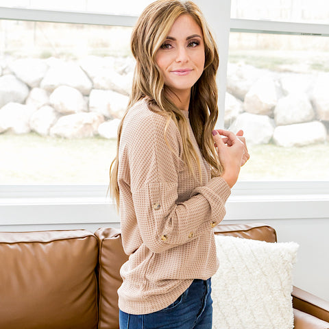 NEW! Robin Button Sleeve Waffle Sweater - Light Mocha - Arrow Twenty Two