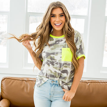 NEW! Carly Faded Camo Top with Neon Details