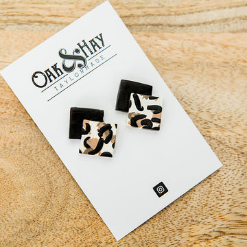 NEW! Black and Leopard Clay Earrings