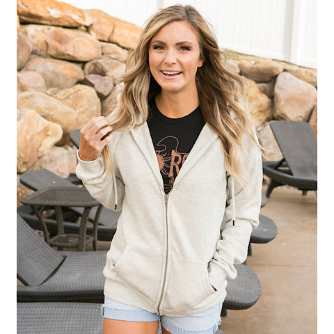 NEW! Favorite Oatmeal Full Zip Hoodie - Arrow Twenty Two