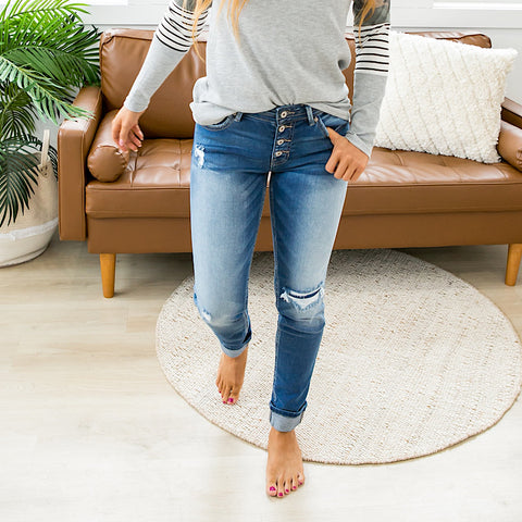KanCan Natalie Patched Straight Jeans - Arrow Twenty Two