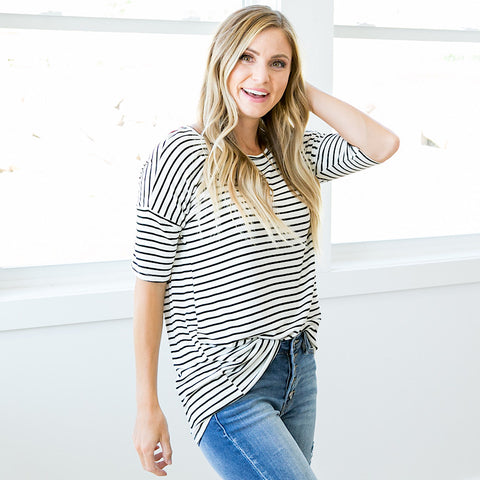 Cora Ivory and Black Striped Top