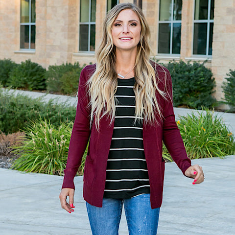 NEW! Favorite Cardigan - Burgundy