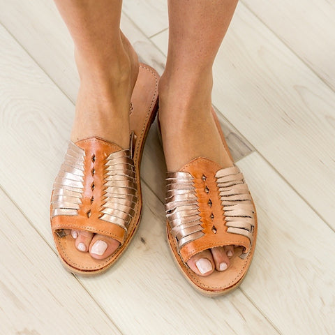 NEW! Sbicca Leather Rose Gold Slip On Sandals