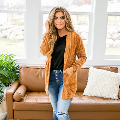 Chenille Cardigan - Caramel - Arrow Twenty Two