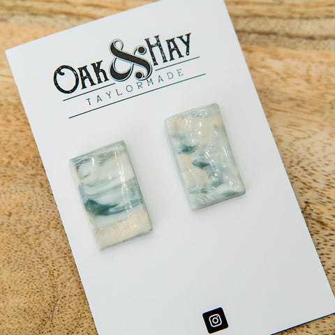 NEW! Marbled Mint Rectangle Clay Earrings