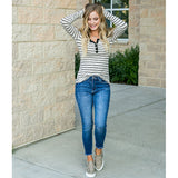 Brielle Oatmeal and Black Striped Button Up Top - Arrow Twenty Two