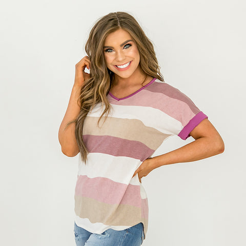 NEW! Plum and Lavender Striped V Neck Top