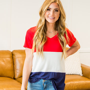 NEW! Ariel Red, White and Navy Colorblock Top