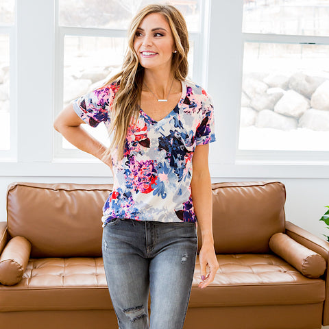NEW! Emory Pink, Purple and Blue Floral V Neck Top