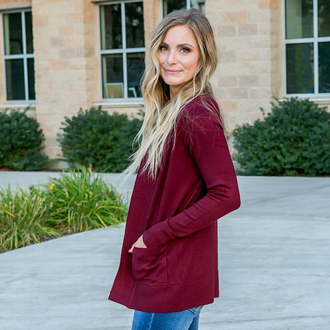 NEW! Favorite Cardigan - Burgundy - Arrow Twenty Two