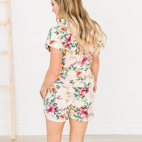 Blush Floral Lounge Shorts - Arrow Twenty Two