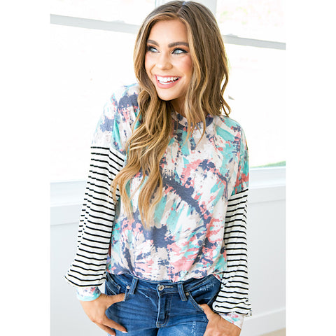 NEW! Lindsay Jade and Navy Tie Dye Long Sleeve Top - Arrow Twenty Two