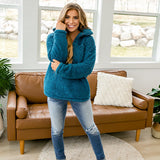 Teal Sherpa Fleece Half Zip Pullover - Arrow Twenty Two