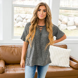 NEW! Aspen Charcoal Lace Up Front Top - Arrow Twenty Two