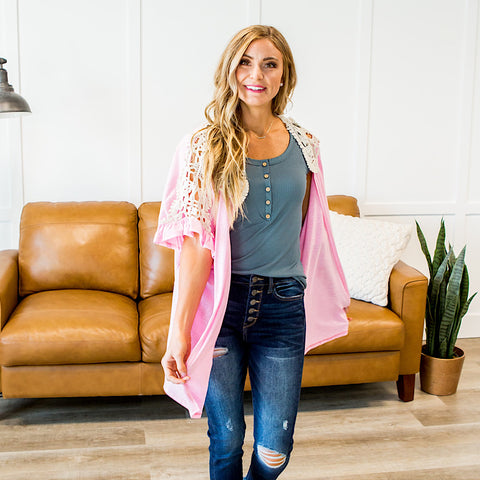 NEW! Lola Cardigan with Lace Shoulder Detail - Pink - Arrow Twenty Two