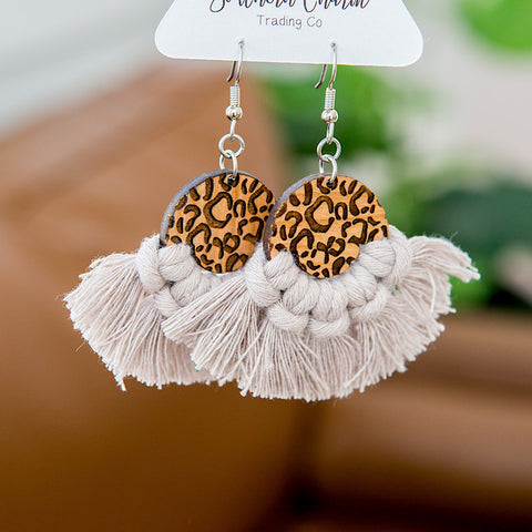 NEW! Josie Macrame and Leopard Earrings - Taupe - Arrow Twenty Two