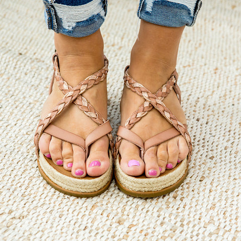 NEW! Blowfish Foxtail Sandals - Rose Gold - Arrow Twenty Two