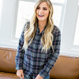 Alicia Navy and Pink Plaid Button Up Shirt - Arrow Twenty Two