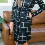 Black Windowpane Midi Dress - Arrow Twenty Two