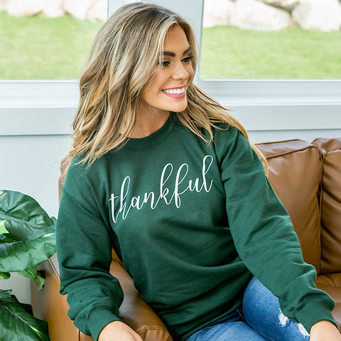 "Forest Green ""Thankful"" Sweatshirt - Arrow Twenty Two"