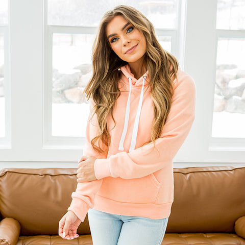 NEW! Ruby Peach Burnout Favorite Hoodie - Arrow Twenty Two