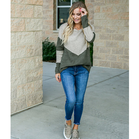 Emory Oatmeal and Olive V Detail Sweater - Arrow Twenty Two