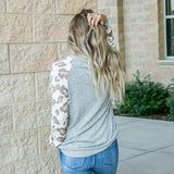 NEW! Lacey Heather Gray and Leopard Long Sleeve Top - Arrow Twenty Two