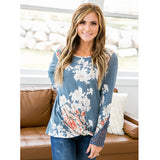 NEW! Cadence Light Navy Floral Twist Top with Crochet Sleeve Details - Arrow Twenty Two