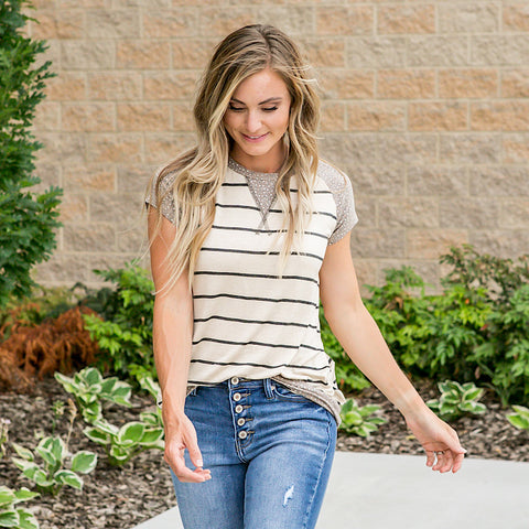 Alexa Oatmeal and Leopard Striped Top