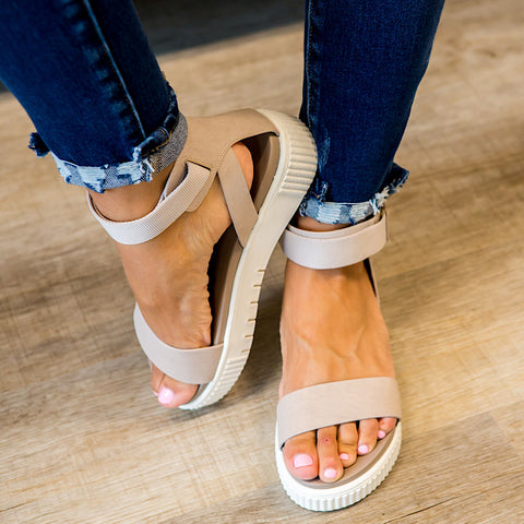 NEW! Mia Mika Platform Sandal - Cement - Arrow Twenty Two