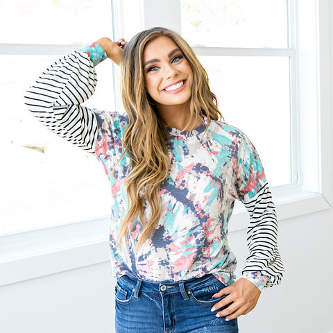 NEW! Lindsay Jade and Navy Tie Dye Long Sleeve Top