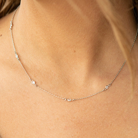NEW! Silver Dainty 5 Stone Necklace - Arrow Twenty Two