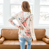 Harper Taupe Floral Hooded Top with Lace Sleeve Detail - Arrow Twenty Two