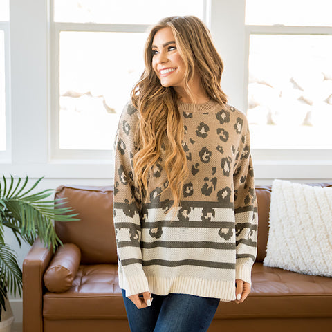 Alexis Mocha Leopard Sweater - Arrow Twenty Two