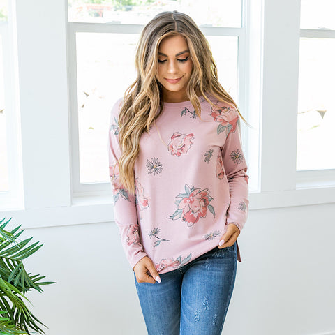 NEW! Meredith Mauve Floral Long Sleeve Top