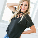 Black Caged Detail Top - Arrow Twenty Two