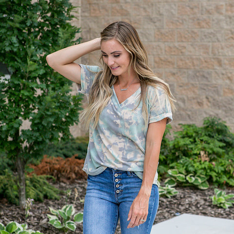 NEW! Avery Mixed Up Camo-ish Tie Dye Top - Arrow Twenty Two