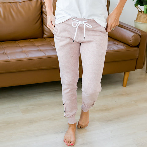 NEW! Blush Pink Button Hem Jogger Lounge Pants