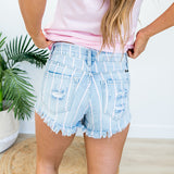 KanCan Pink and White Stripe Shorts - Arrow Twenty Two