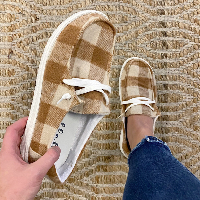 Tan Plaid Heather Slip on Sneaker - Arrow Twenty Two