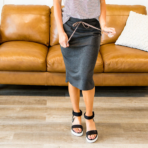 NEW! Jene Charcoal Skirt with Leopard Tie