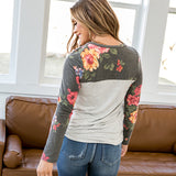 NEW! Anna Charcoal Floral Pocket Long Sleeve Top - Arrow Twenty Two